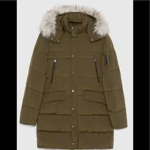 2ca771227 Zara Men Green Khaki Puffer Parka Coat NWT
